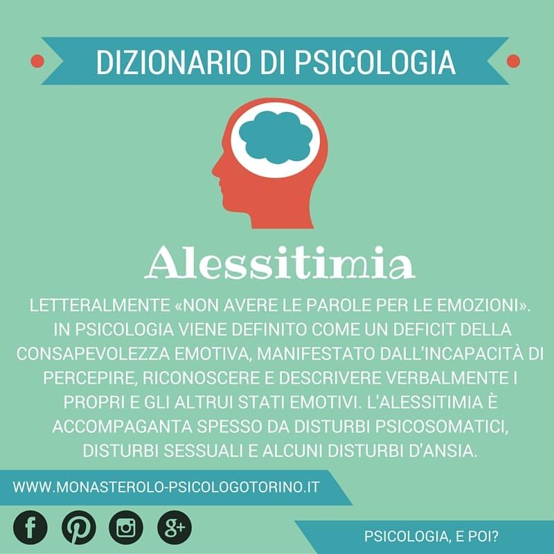 Dizionario di Psicologia Alessitimia - Psicologo Psicoterapeuta Torino