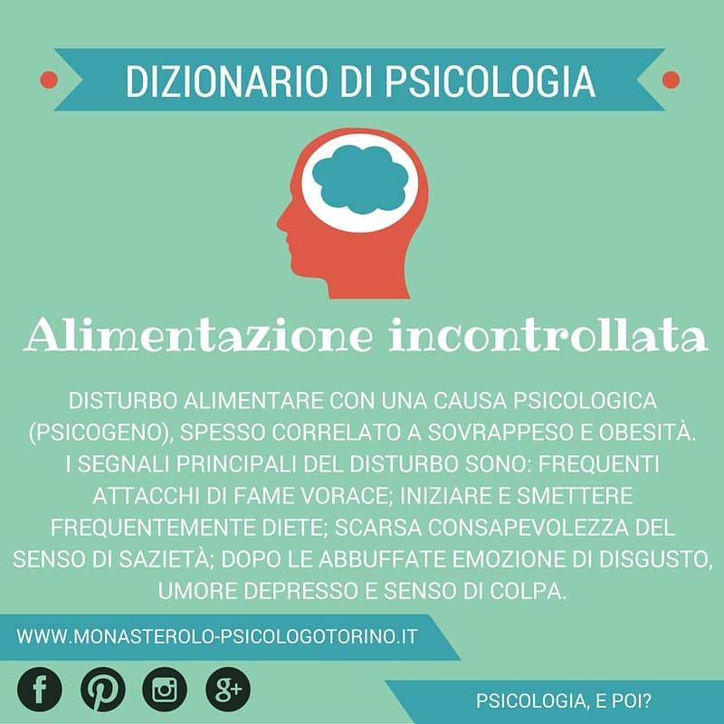 Dizionario di Psicologia Alimentazione Incontrollata - Psicologo Psicoterapeuta Torino