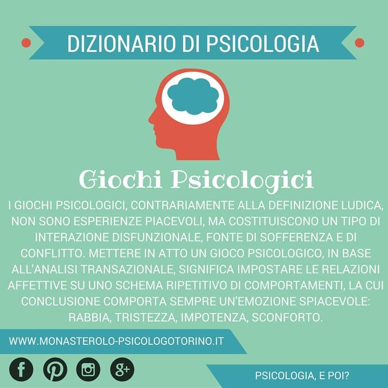 Dizionario di Psicologia Giochi Psicologici - Psicologo Psicoterapeuta Torino